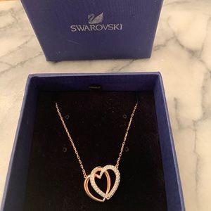 Swarovski NIB NWT rose gold crystal hearts pendant